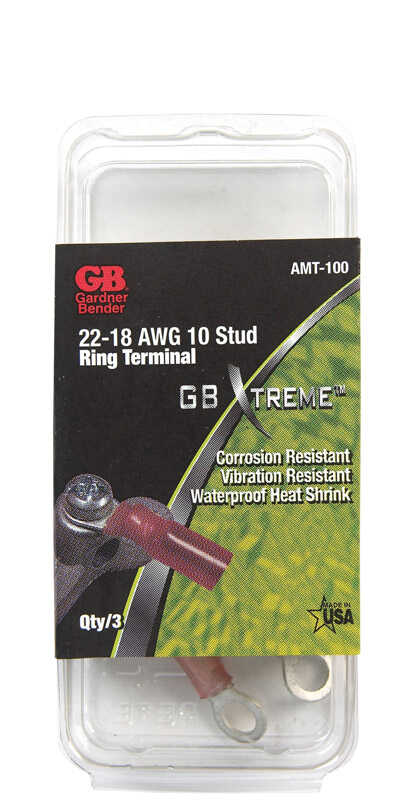 Gardner Bender  22-18 Ga. Insulated Wire  Ring Terminal  Xtreme  22-18 AWG 3 pk