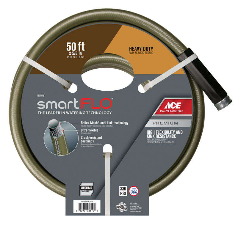 Ace  SmartFLO  5/8 in. Dia. x 50 ft. L Heavy Duty  Garden Hose