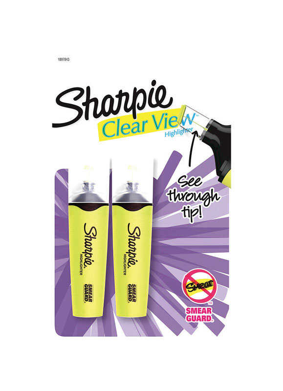 Sharpie  Clear View  Neon Color Yellow  Chisel Tip  Highlighter  2 pk