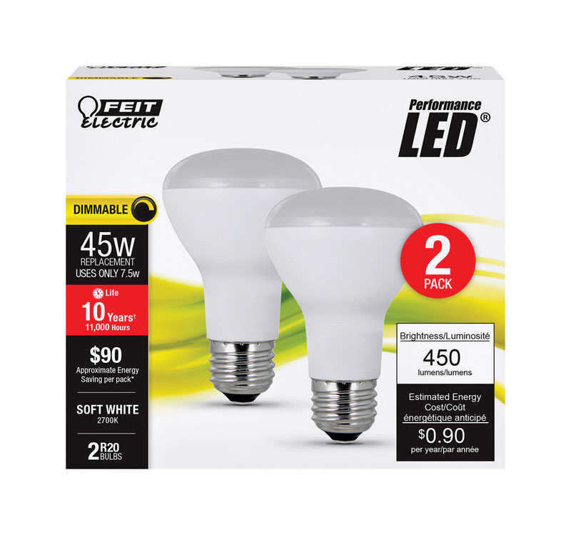 FEIT Electric  Performance  7.5 watts R20  LED Bulb  450 lumens Soft White  45 Watt Equivalence Refl