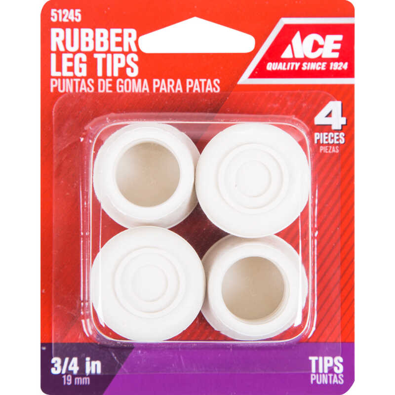 Ace  Rubber  Leg Tip  Off-White  Round  3/4 in. W 4 pk