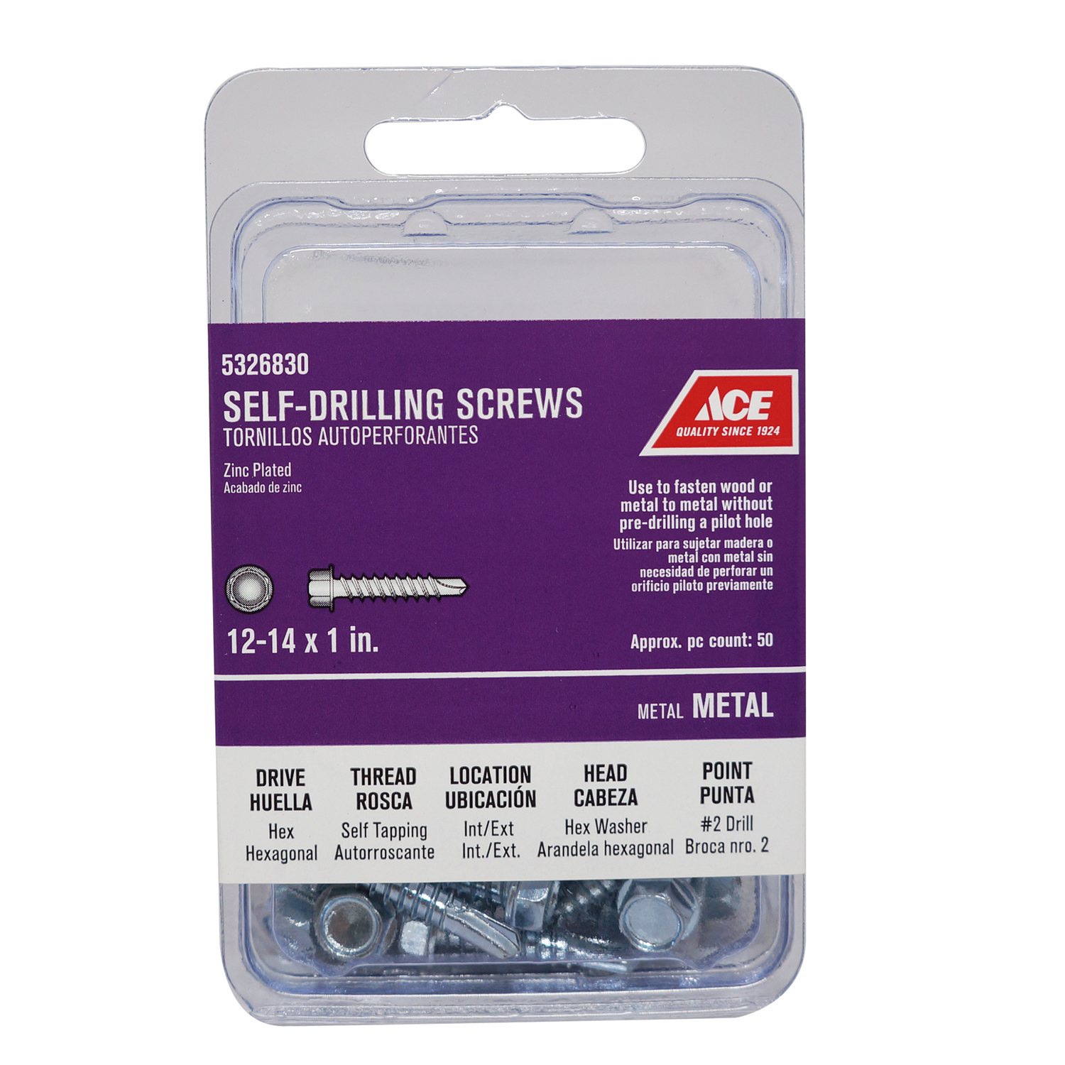 Ace  1 in. L x 12 Sizes  Hex  Hex Washer Head Zinc-Plated  Steel  Self- Drilling Screws  50 per box