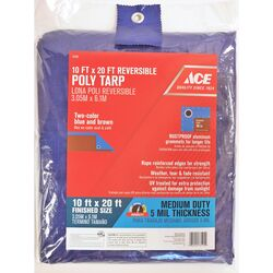 Ace  10 ft. W x 20 ft. L Medium Duty  Polyethylene  Tarp  Blue/Brown