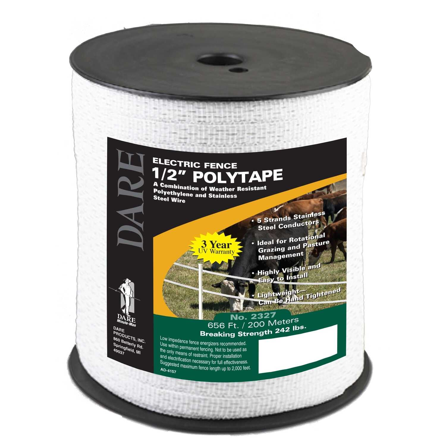 Dare Products  Poly Tape  665 ft  White