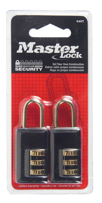 Master Lock  1-1/2 in. H x 1/2 in. W x 1-3/16 in. L Steel  3-Dial Combination  Padlock  2 pk