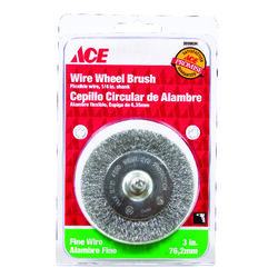 Ace  3 in. Fine  Crimped  Wire Wheel Brush  Steel  4500 rpm 1 pc.