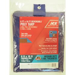 Ace  8 ft. W x 10 ft. L Medium Duty  Polyethylene  Tarp  Blue/Brown