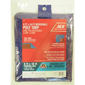 Ace  8 ft. W x 10 ft. L Medium Duty  Blue/Brown  Tarp  Polyethylene