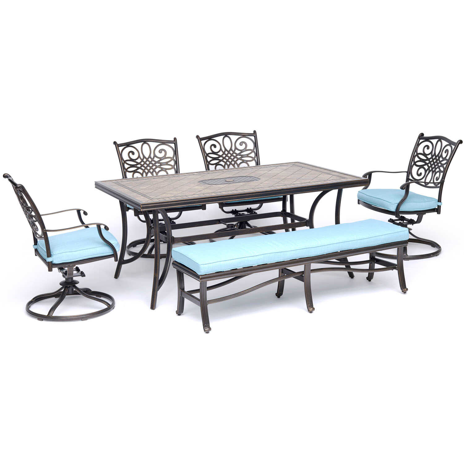 Hanover  Monaco  6 pc. Oil Rubbed Bronze  Aluminum  Dining Patio Set  Blue