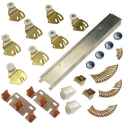 Johnson Hardware  Brass-Plated  Silver  Aluminum  By-Pass Door Hardware Set  5 pc.