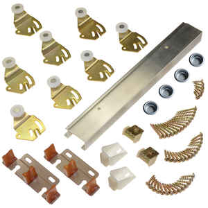 Johnson Hardware  Brass-Plated  Silver  Aluminum  By-Pass Door Hardware Set  5 pk