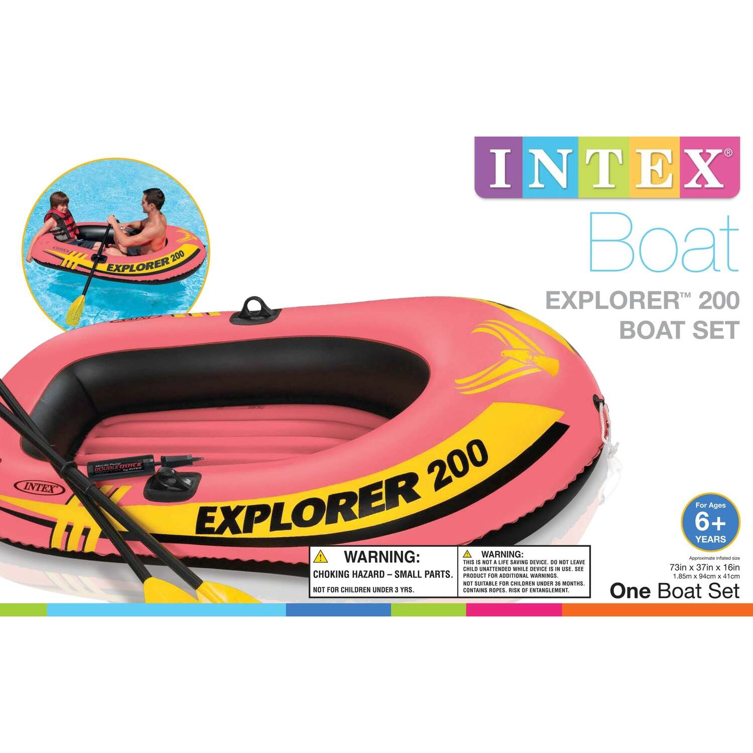 Intex  Orange  Vinyl  Inflatable Boat