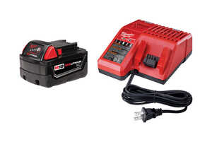 Milwaukee  M18  M18 REDLITHIUM  18 volt Lithium-Ion  Wall Charger and Battery Combo  2 pk Battery Ch