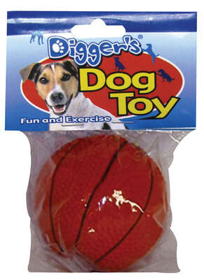 Diggers  Orange  Basketball  Latex  Dog Toy  Medium
