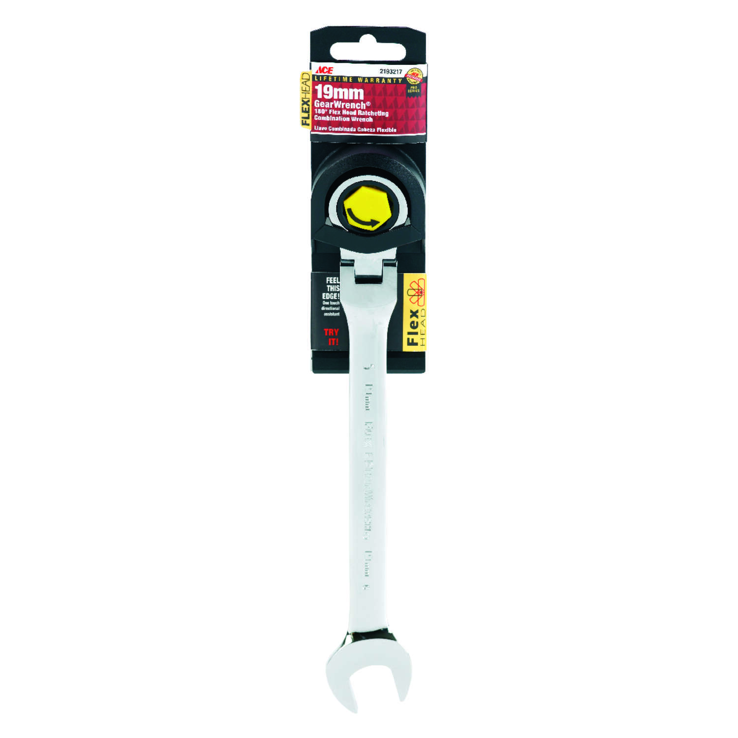 Ace  Pro Series GearWrench  19   x 19   x 9.8 in. L Metric  Flex Head Combination Wrench  1 pc.