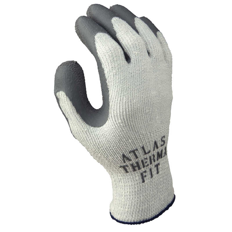 Atlas  Therma Fit  Unisex  Indoor/Outdoor  Rubber Latex  Cold Weather  Work Gloves  Gray  XL  1 pair