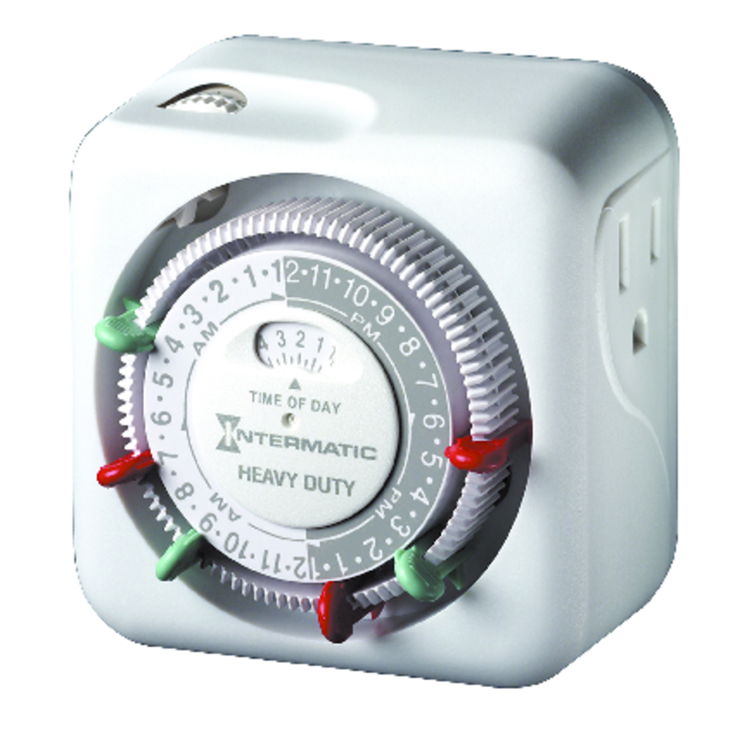 Intermatic Indoor Plug In Timer 125 volt White The TN311K premium heavy duty indoor 24-hour plug-in timer is simple to use and program. Simply set the on/off trippers into the desired time slots and then plug the light into the timer and the timer into the wall outlet. It is ideal for lamps and appliances. You can schedule 2 ON/OFF events at 15-minute intervals. CSA certified. 15 Amp, 125 VAC, 60Hz.