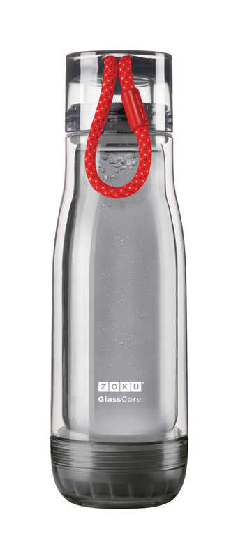 Zoku  Gray  Glass  Water Bottle  BPA Free 16 oz.