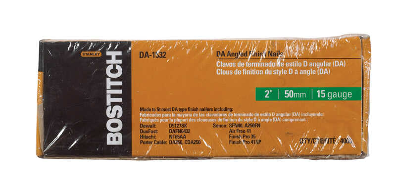 Bostitch  15 Ga. Smooth Shank  Angled Strip  Finish Nails  2 in. L x 0.12 in. Dia. 4000 pk