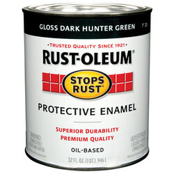 Rust-Oleum  Gloss  Dark Hunter Green  Oil-Based  Protective Enamel  Indoor and Outdoor  1 qt.