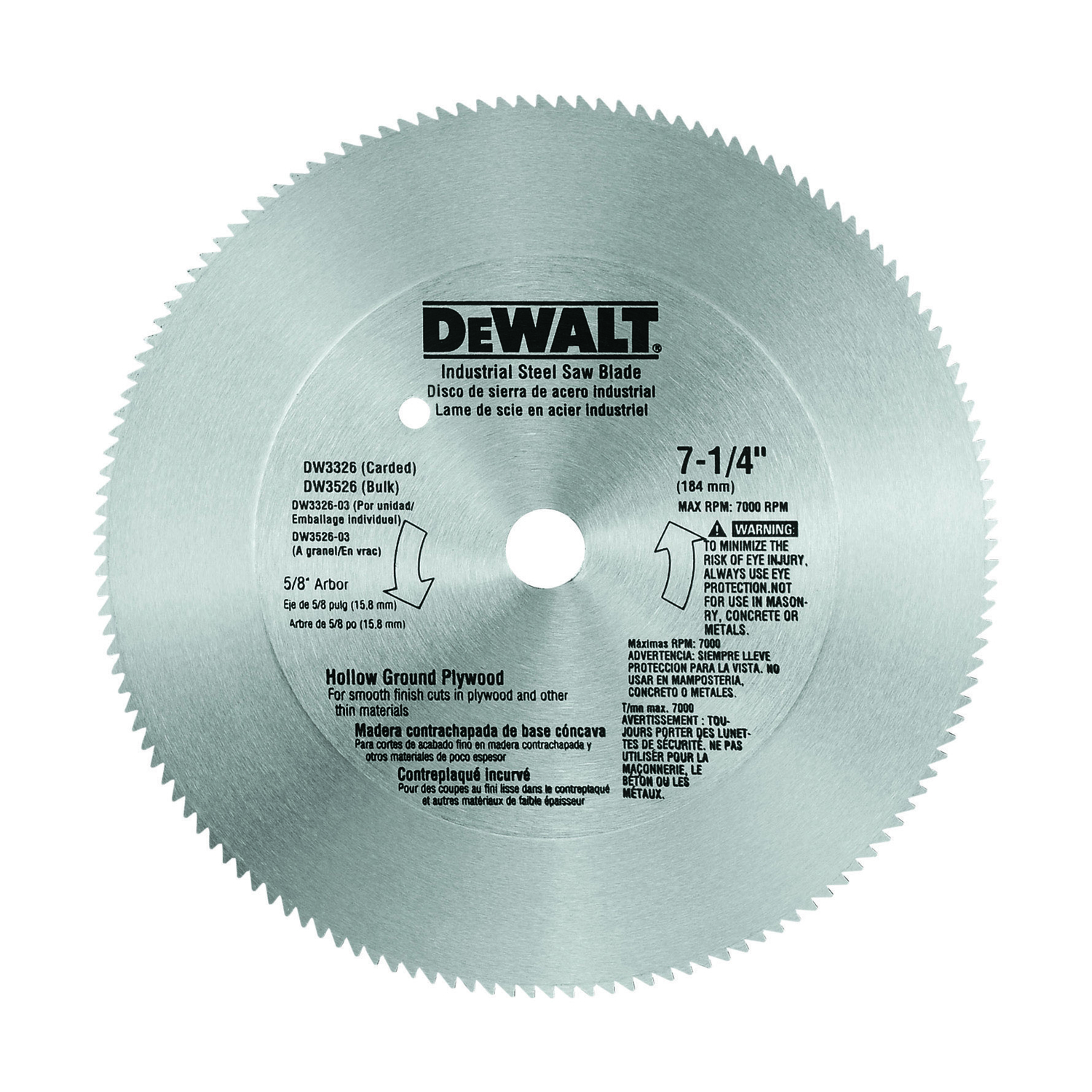 DeWalt  0.075 in.  7-1/4 in.  Circular Saw Blade  140 teeth 1 pk Steel  5/8 in.
