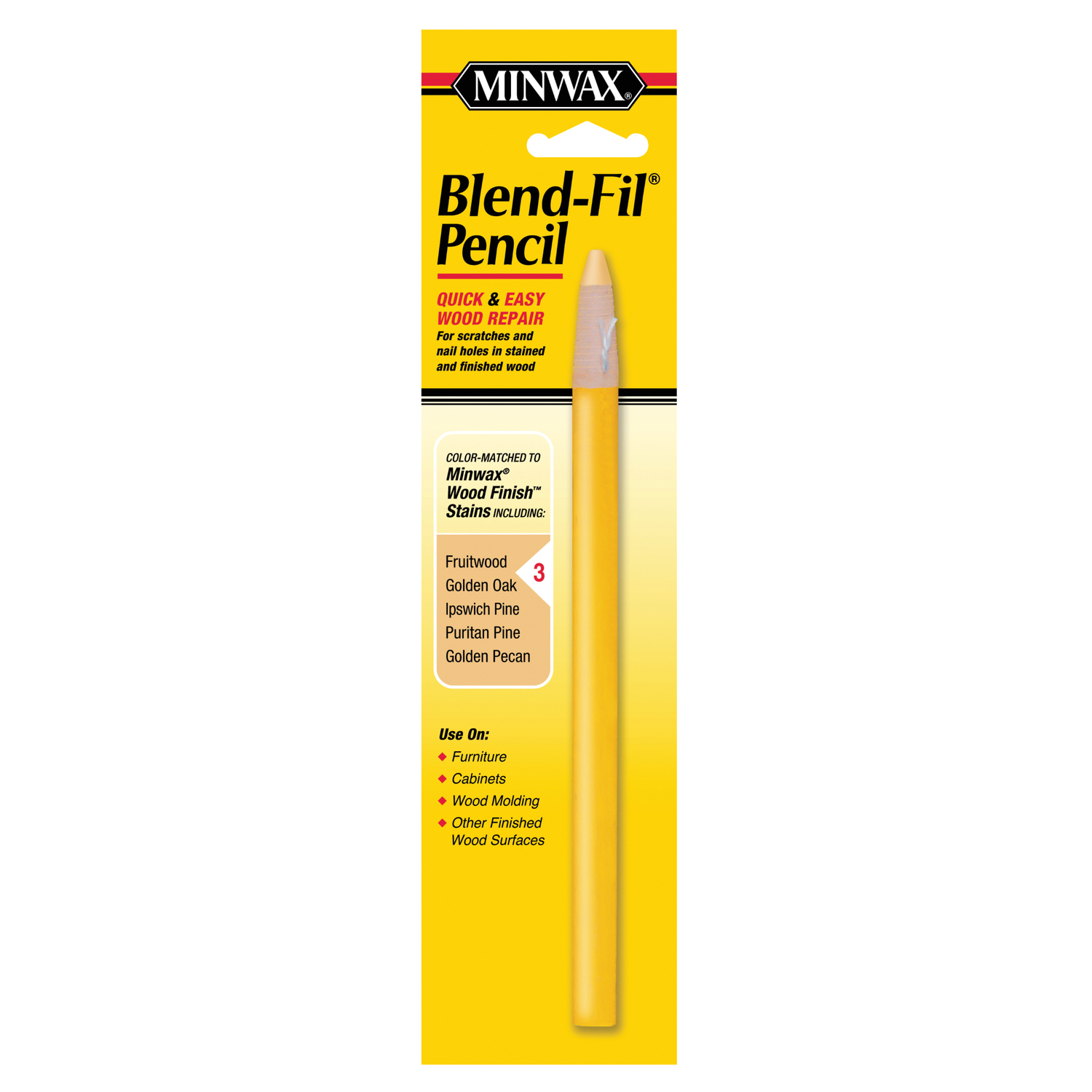 Minwax  Blend-Fil No. 3  Fruitwood, Golden Oak, Golden Pecan, Pine,Puritan  Wood Pencil  1 oz.