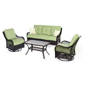 Hanover  4 pc. Brown  Resin  Patio Set  Green
