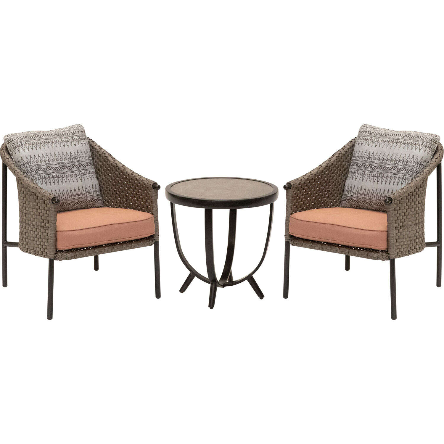 Mod  Santa fe  3 pc. Black  Steel  Patio Set  Desert Rose
