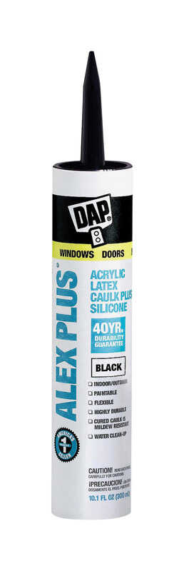DAP  Alex Plus  Black  Acrylic Latex  Caulk  10.1 oz.