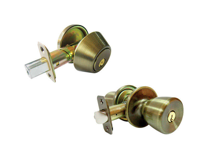Faultless  Tulip  Antique Brass  Metal  Entry Knob and Single Cylinder Deadbolt  3 Grade Right Hande
