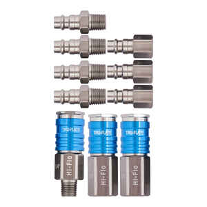 Tru-Flate  Aluminum  Air Coupler and Plug Set  1/4 in. Female  NPT  10 pc.