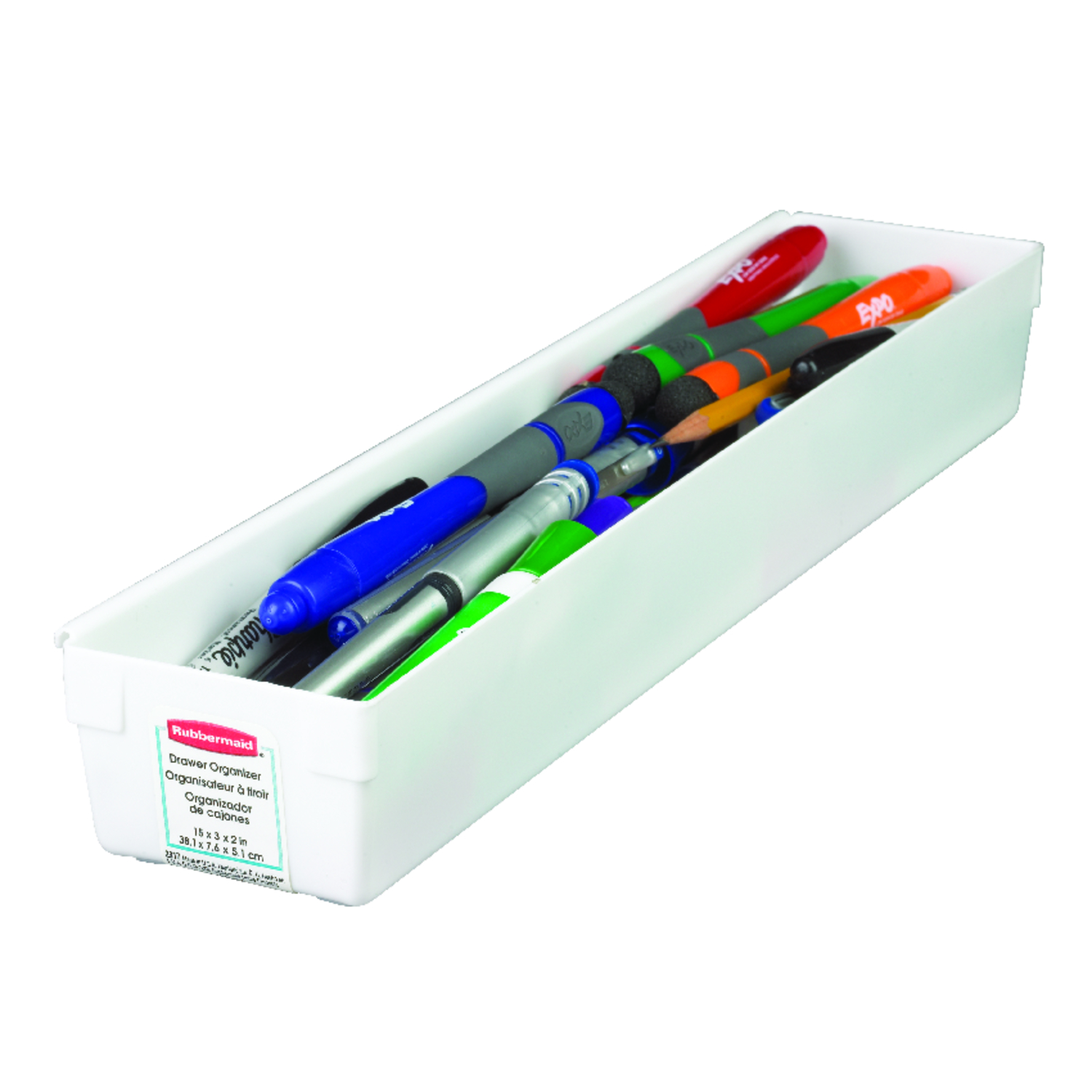 Rubbermaid  2 in. H x 15 in. L x 3 in. W Drawer Organizer  Plastic  White