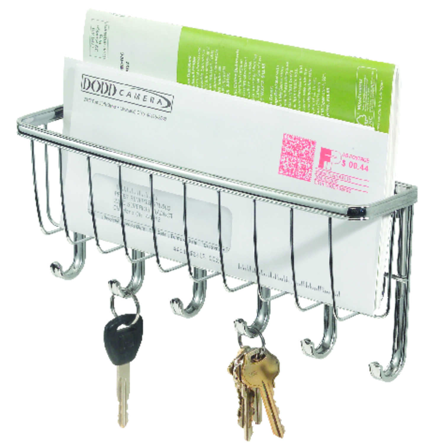 InterDesign  10-3/4 in. L Chrome  Metal  Small  Axis Mail Letter Holder and Key  Rack  1 pk