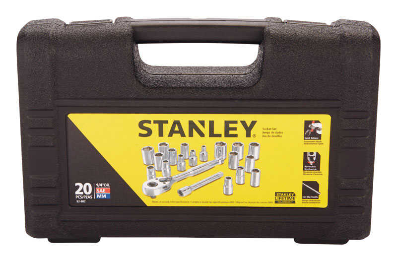 Stanley  Assorted in.  x 1/4 in. drive  SAE  6  Socket Set  20 pc.