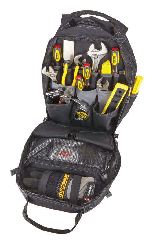 CLC Work Gear  6 in. W x 18 in. H Polyester  Backpack Tool Bag  44 pocket Black/Tan  1 pc.