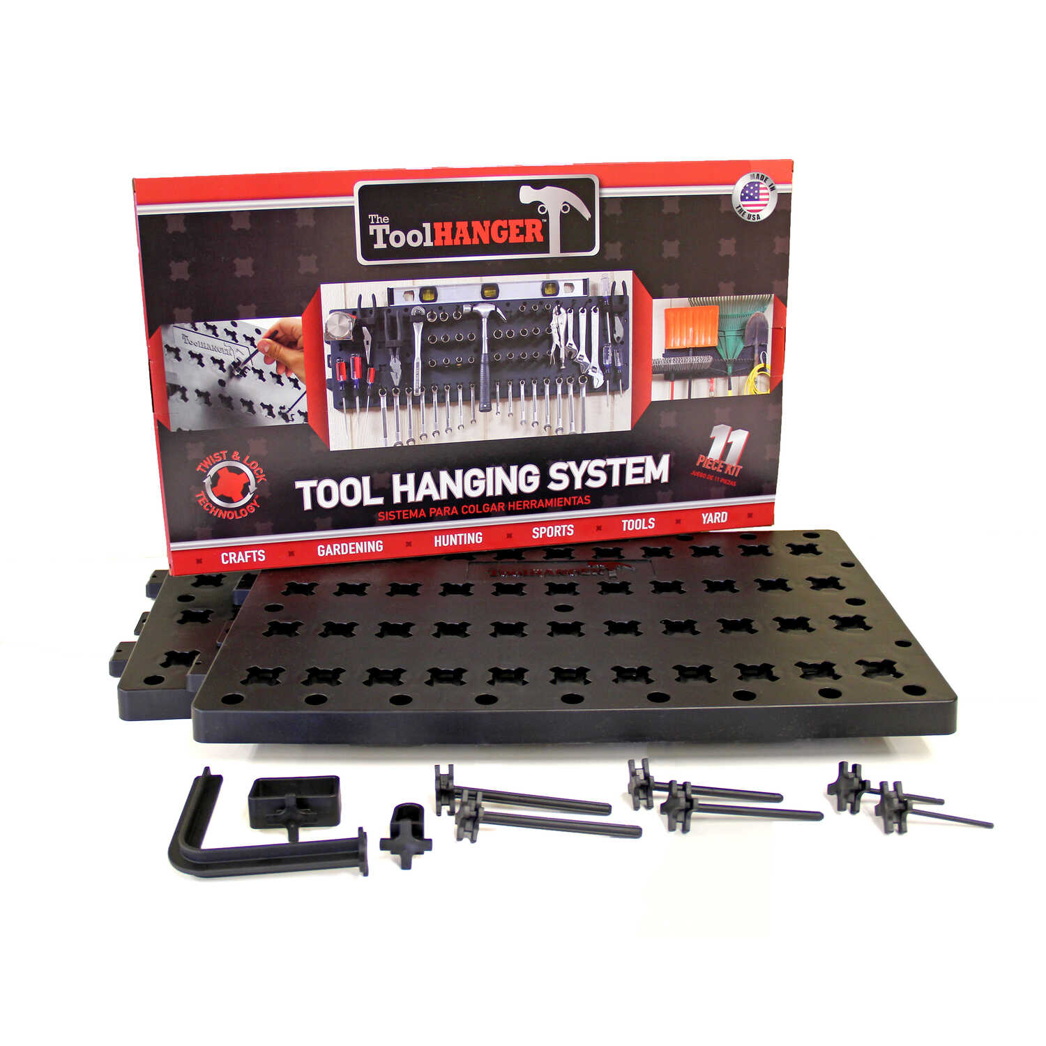 Hansen Global  The ToolHanger  5 in. D x 36 in. W x 11-1/2 in. H Black  Starter Kit  Plastic