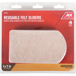 Ace Brown Felt Rectangle 6 in. L Slide Glide 4 pk