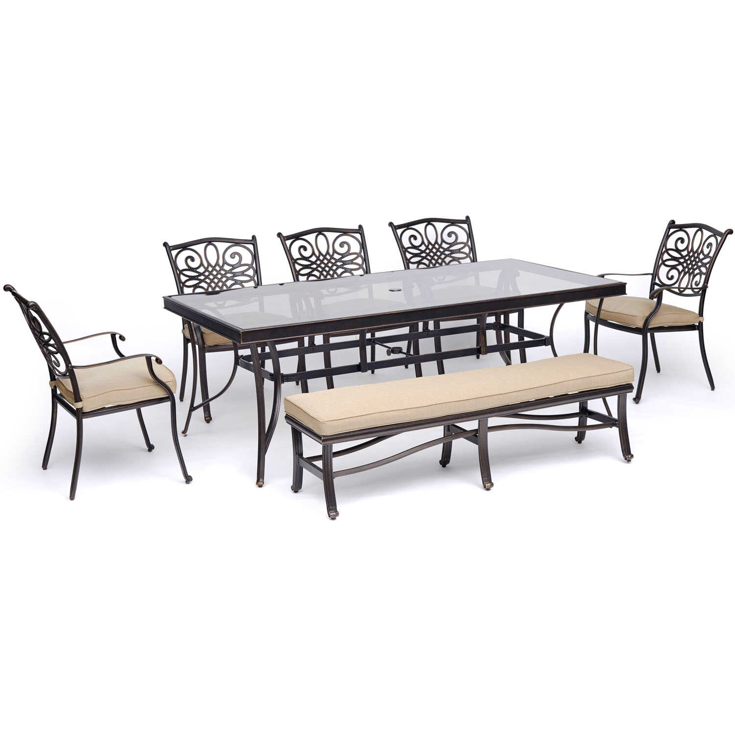 Hanover  Traditions  7 pc. Bronze  Aluminum  Patio Set  Tan