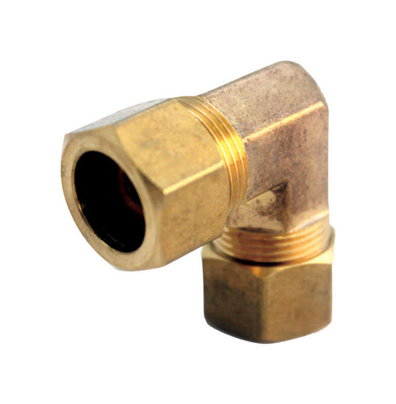 JMF  3/4 in. Dia. x 3/4 in. Dia. Compression To Compression To Compression  Yellow Brass  Elbow