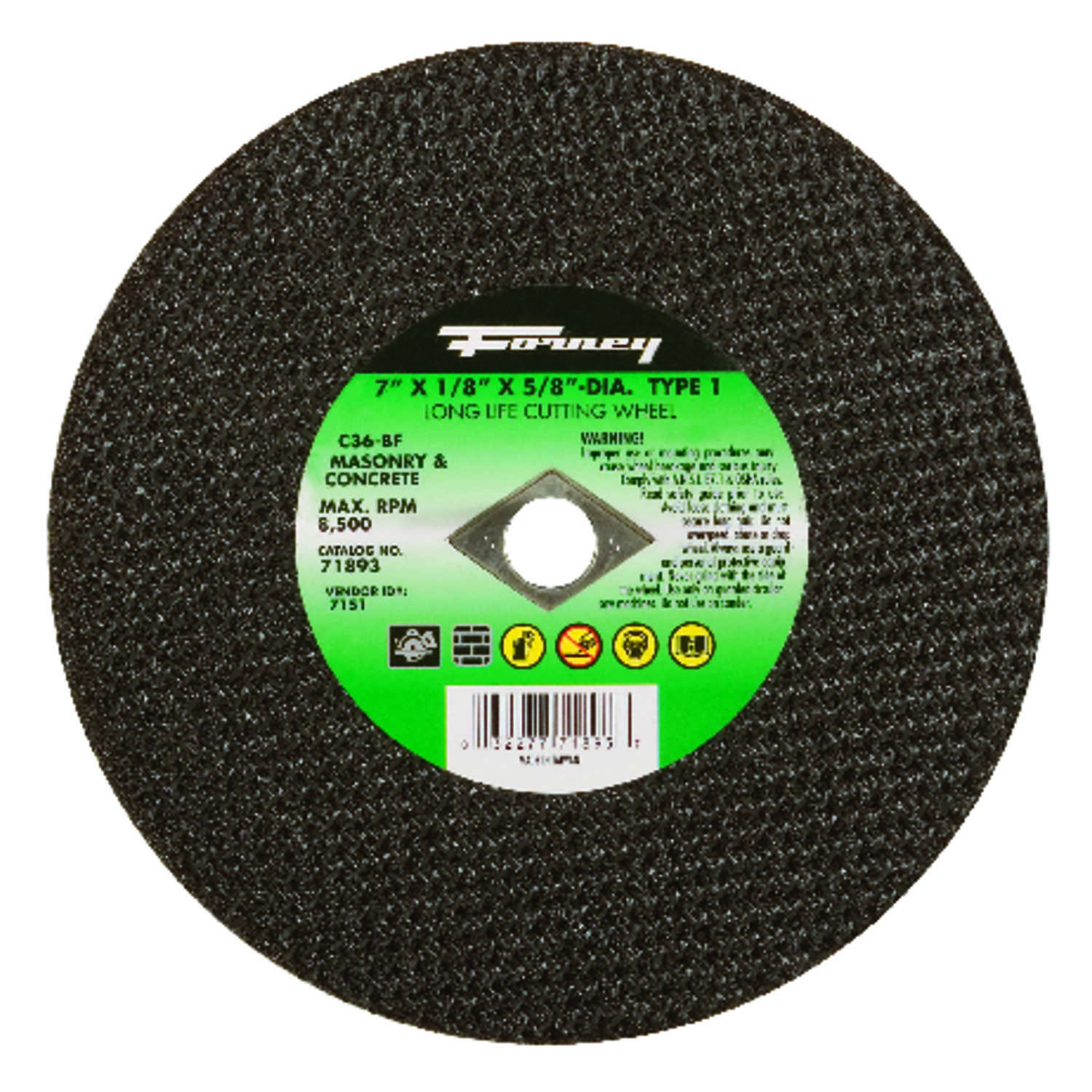 Forney  7 in. Silicon Carbide  Masonry Cutting Wheel  1/8 in. thick  x 5/8 in.  1 pc.
