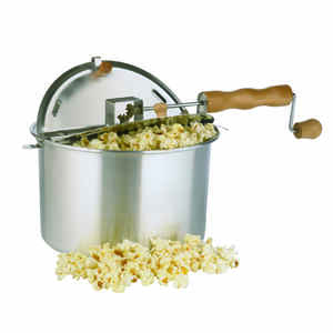 Whirley Pop  Aluminum  Stove Top Popcorn Popper  16.5 in. 6 qt. Silver