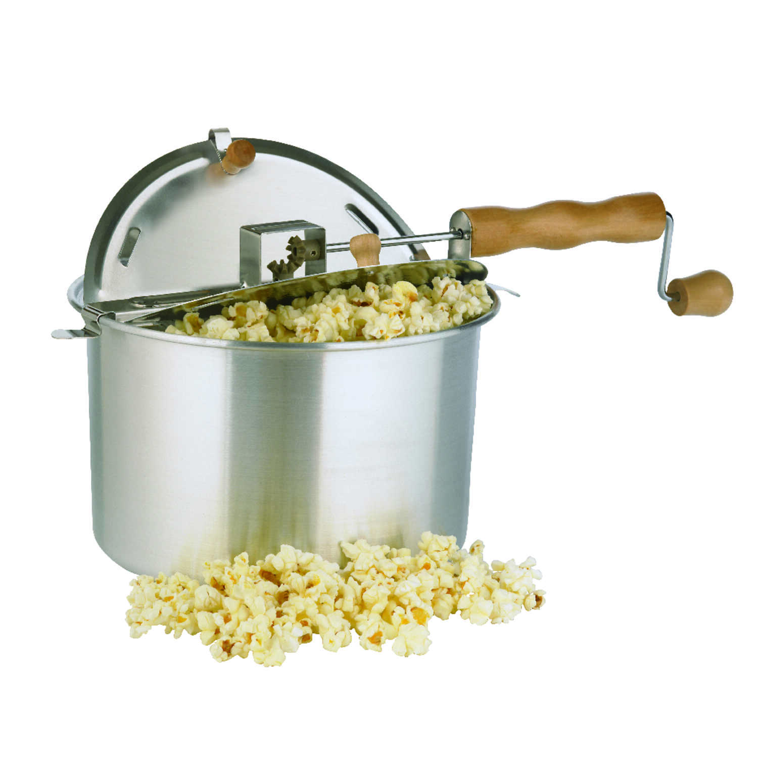 Whirley Pop Aluminum Stove Top Popcorn Popper 16 5 In 6 Qt Silver