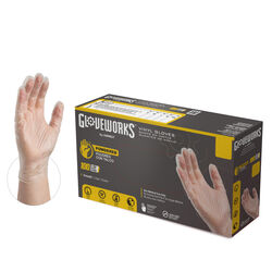 Gloveworks Vinyl Disposable Gloves Large Clear Powdered 100 pk