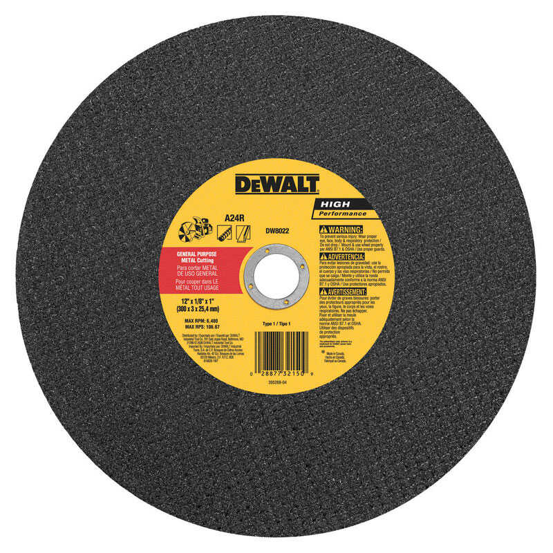 DeWalt  High Performance  12 in. 1 in. in.  Aluminum Oxide  Cut-Off Wheel  1 pc.