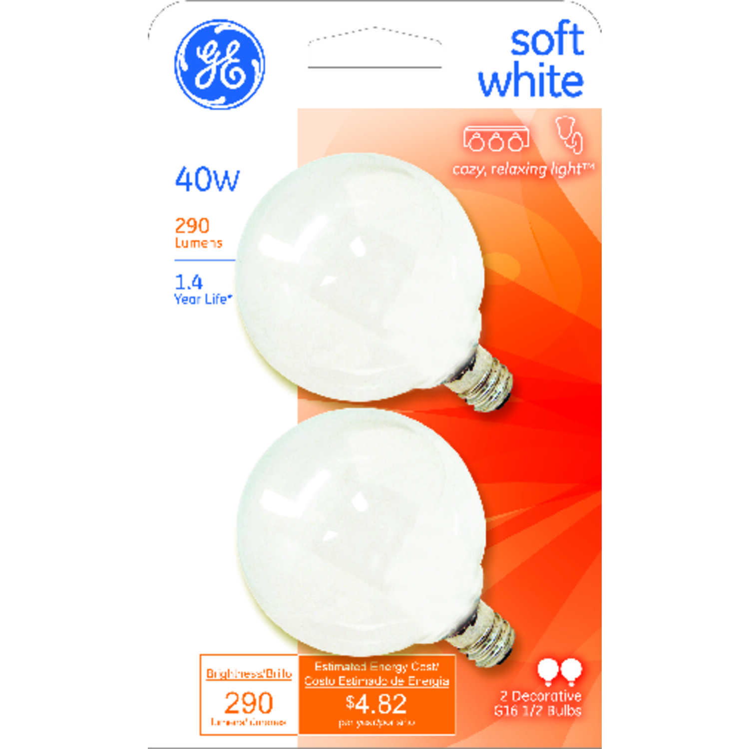GE Lighting  40 watts G16.5  Incandescent Bulb  290 lumens Soft White  Globe  2 pk
