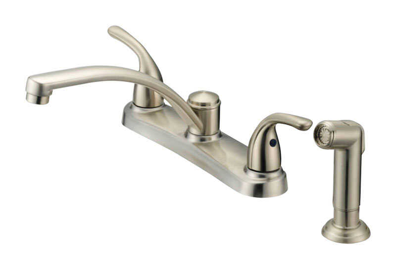 OakBrook  Coastal  2 Handle Kitchen w/Sprayer  Brushed Nickel  Kitchen Faucet  Side Sprayer Included
