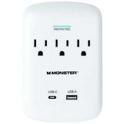 Monster Just Power It Up 1200 J 0 ft. L 3 outlets Surge Protector Wall Tap
