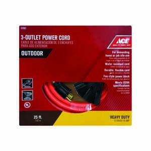 Ace  Indoor and Outdoor  25 ft. L Orange  Triple Outlet Cord  12/3 STW