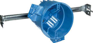 Carlon  Super Blue  4 in. Round  1 Gang  1 gang Electrical Box w/Hanger Bar  Thermoplastic  Blue