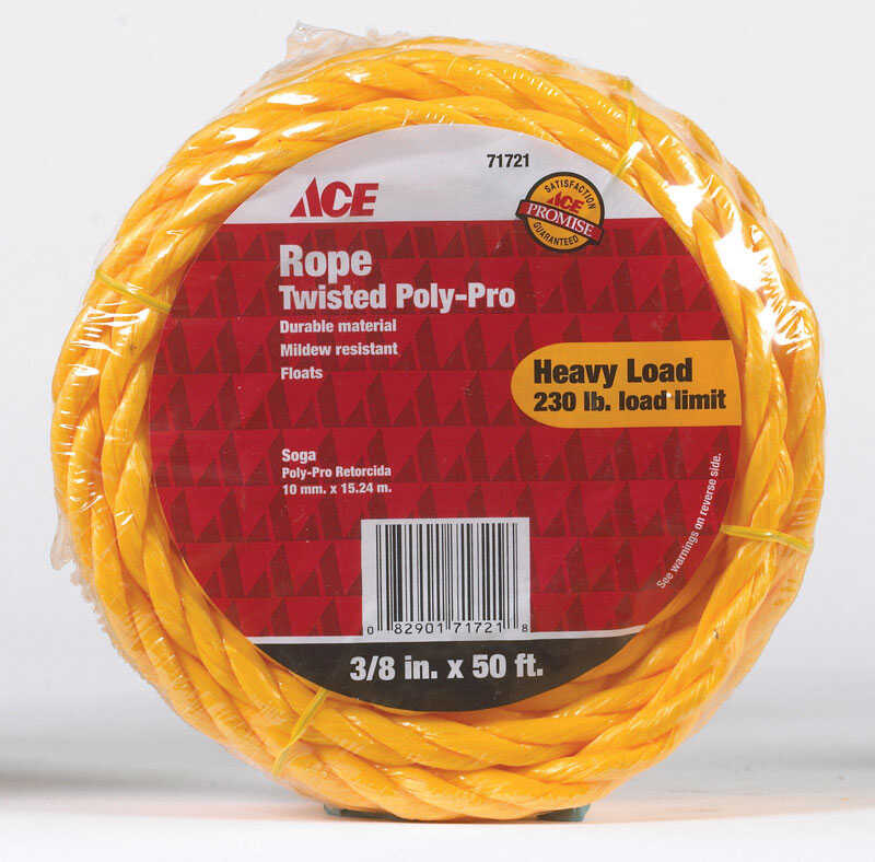 Ace  3/8 in. Dia. x 50 ft. L Poly  Rope  Yellow  Twisted
